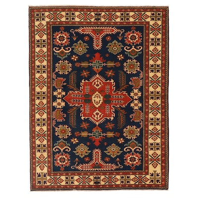 5'10 x 7'8 Hand-Knotted Afghan Persian Tabriz Area Rug, 2000s