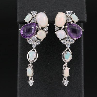 Sterling Silver Amethyst, Opal and Cubic Zirconia Cluster Drop Earrings