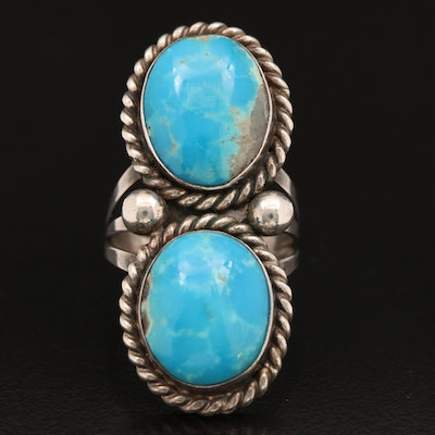 Western Style Sterling Turquoise Ring