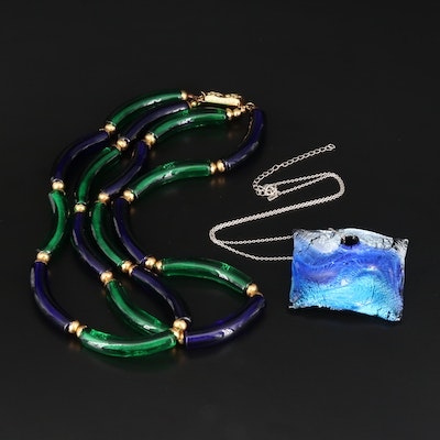 Art Glass Double Strand Necklace with Sterling Pendant Necklace