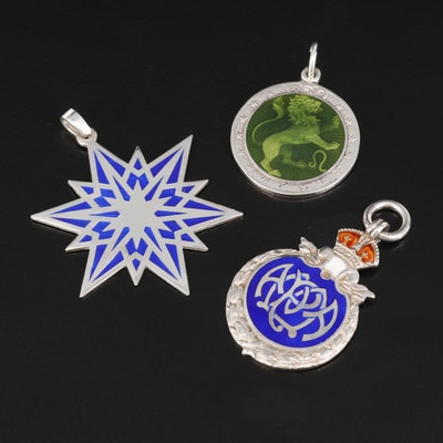 Vintage Commemorative Sterling Silver Medals with Enamel Inlay