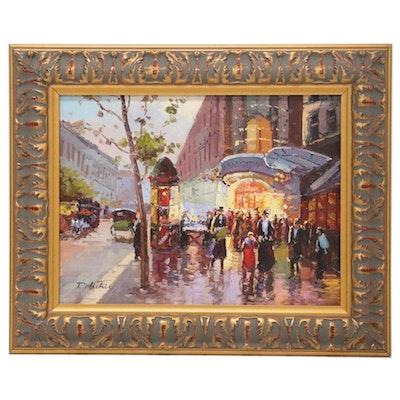 Rainy Cityscape Oil Painting, 21st Century