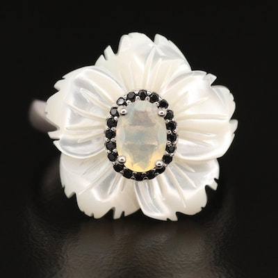 Sterling Opal, Mother of Pearl and Cubic Zirconia Carved Flower Ring