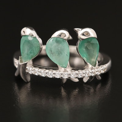 Sterling Beryl and Cubic Zirconia Bird Trio Ring