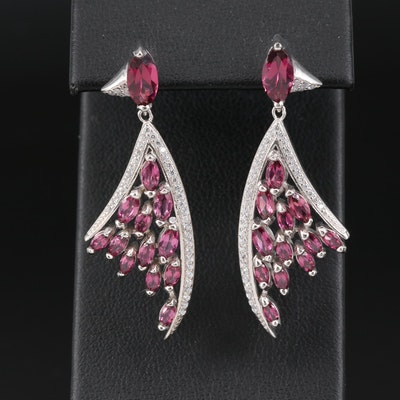Sterling Silver Garnet and Cubic Zirconia Dangle Earrings