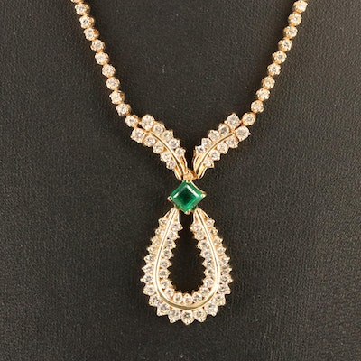 14K Emerald and 3.55 CTW Diamond Necklace