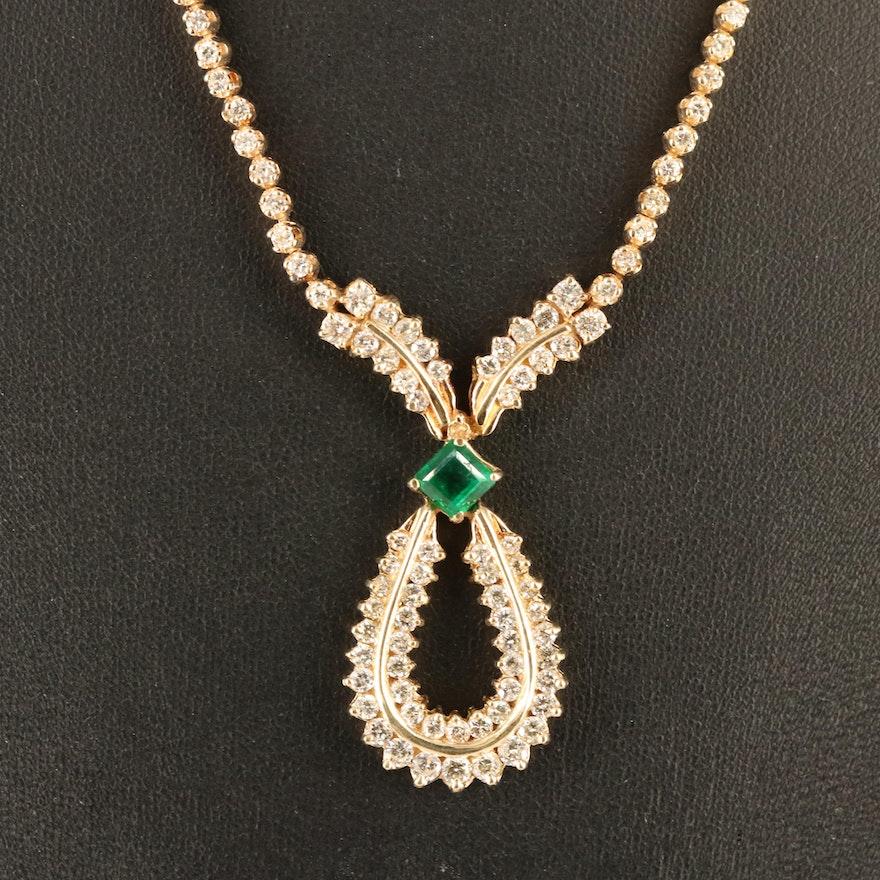 14K Emerald and 3.55 CTW Diamond Necklace