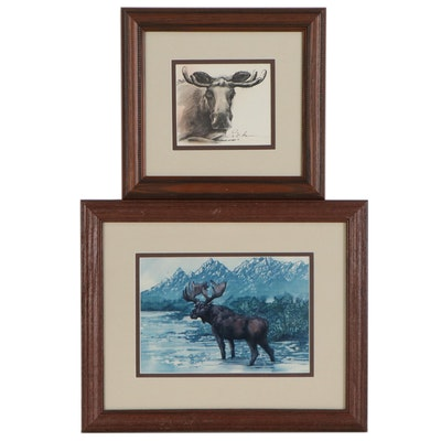 Halftone Prints of Moose, Late 20th Century