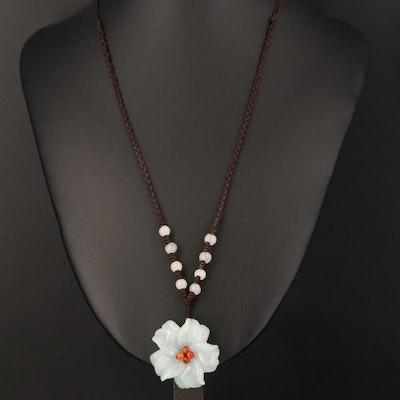 Jadeite and Quartzite Corded Necklace