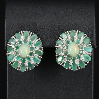 Sterling Opal, Beryl and Cubic Zirconia Earrings