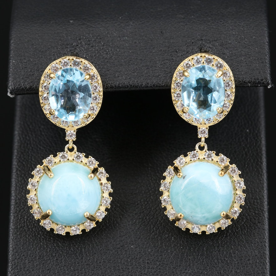 Sterling Larimar, Topaz and Cubic Zirconia Drop Earrings