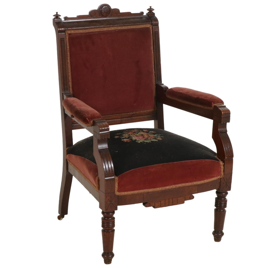 Victorian Walnut Open Armchair with Needlepoint Upholstery, Late 19th Century