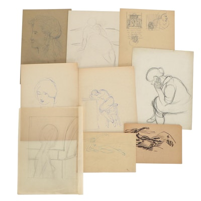 Florence Smithburn Mixed Media Drawings, Mid-20th Century