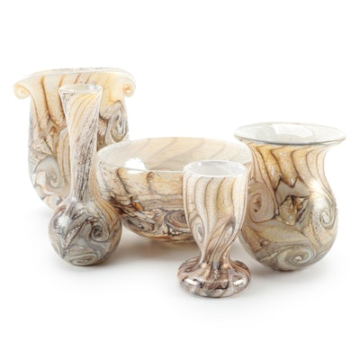 "Gozo Glass ""Stone"" Vases and Bowl"