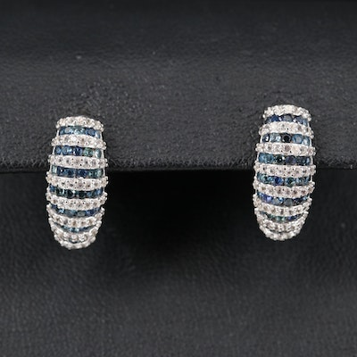 Sterling Silver Sapphire and Topaz Earrings