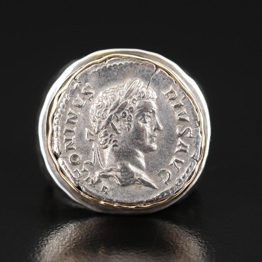 14K Ring Bearing Ancient Roman Imperial Denarius Coin of Caracalla, CA. 198 A.D.