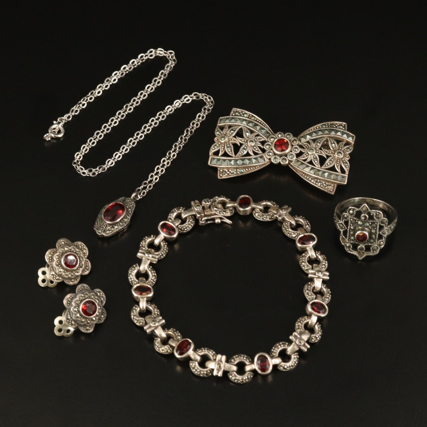 Sterling Garnet and Marcasite Jewelry Featuring Judith Jack Pendant