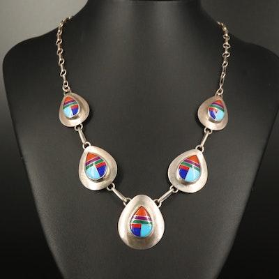 Sterling Faux Gemstone Teardrop Link Necklace