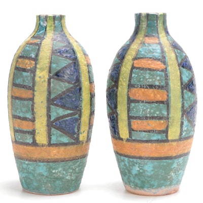 Pair of Hand-Painted Terracotta Vases, Late 20th  Century