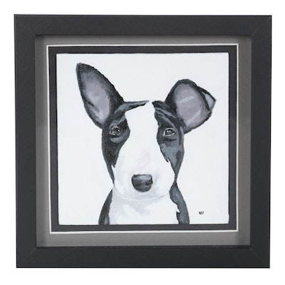 Acrylic Painting of Bull Terrier, 21st Century