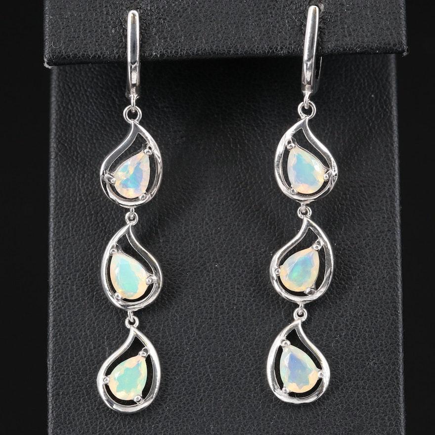 Sterling Silver Opal Dangle Earrings