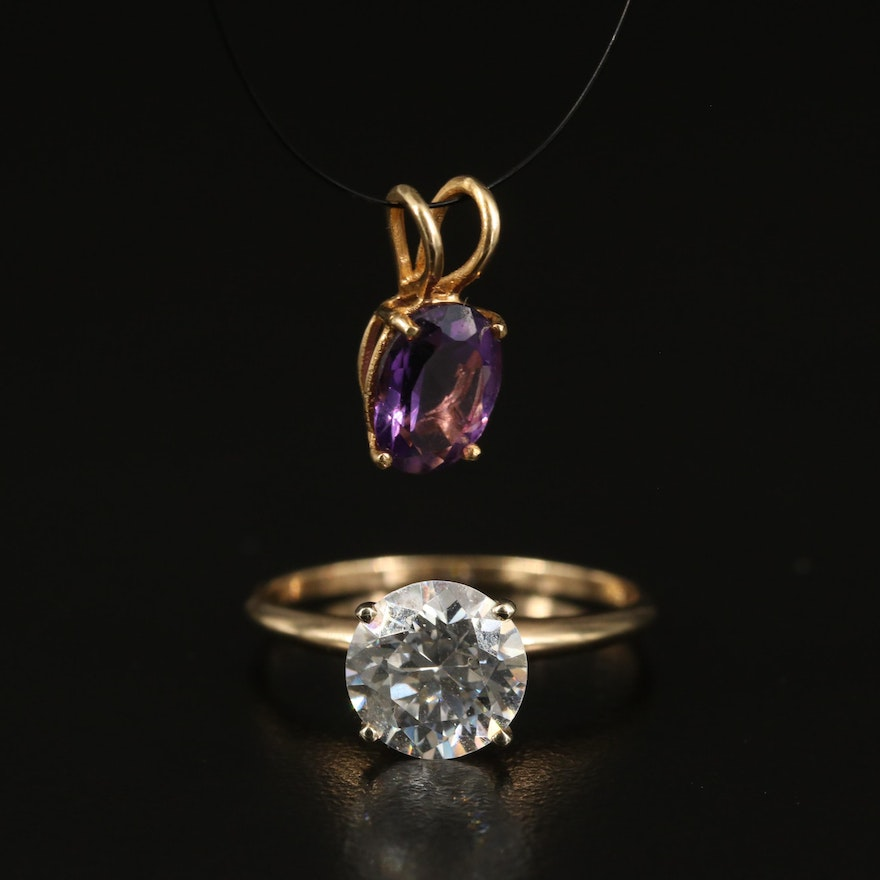 14K Amethyst Pendant and 10K Cubic Zircoina Ring