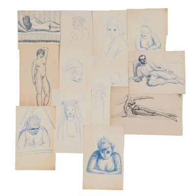 Florence Smithburn Figural Ink Sketches, Mid-20th Century
