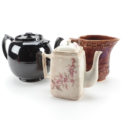 Brown Glazed Ceramic Pitcher and Other English Teapots, 20th Century