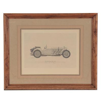 """Offset Lithograph after Kenneth W. Chapman """"Mercedes Benz SSK 1929"""""""