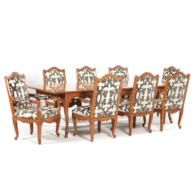 Baker Louis XV Style Marquetry Dining Table and Chairs, Late 20th Century