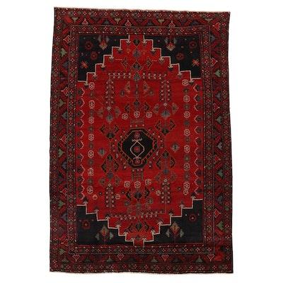 6'9 x 9'11 Hand-Knotted Persian Zanjan Area Rug, 1960s