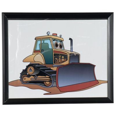 Giclée of a Cartoon Bulldozer, 21st Century