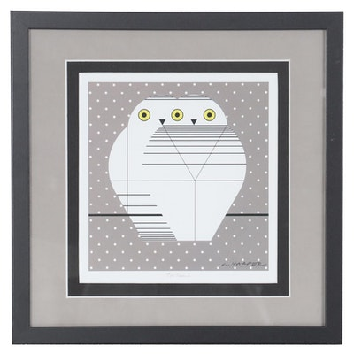 "Offset Lithograph after Charley Harper ""Twowls,"" 21st Century"