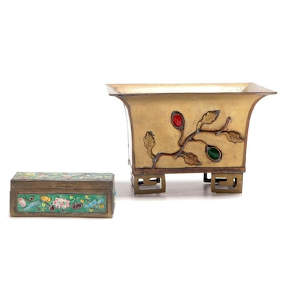 Chinese Gilt Brass Applied Foliate Planter with Cloisonné Stamp Box