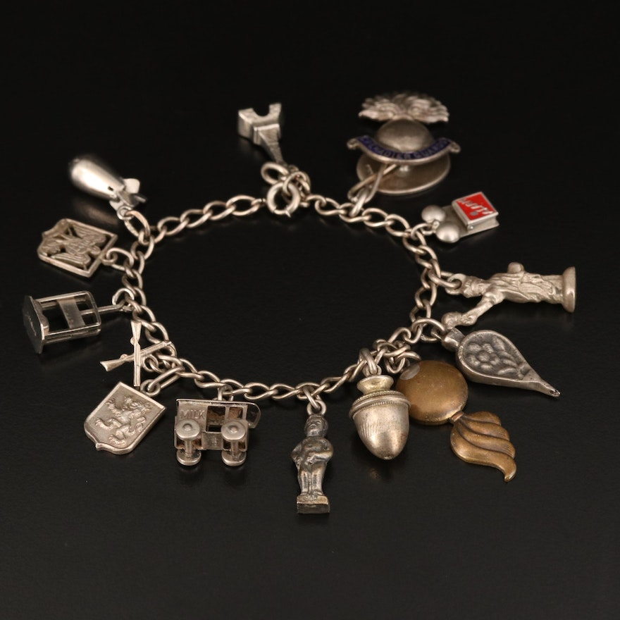 Vintage Sterling Charm Bracelets with Enamel Accents