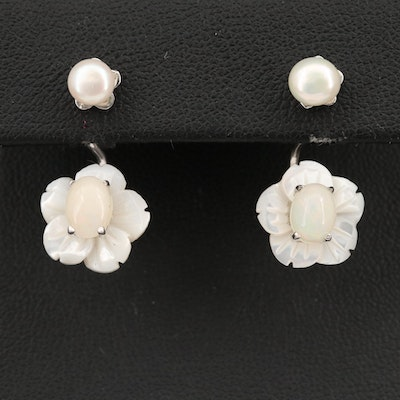 Sterling Pearl Studs with Mother of Pearl and Opal Flower Earring Jackets