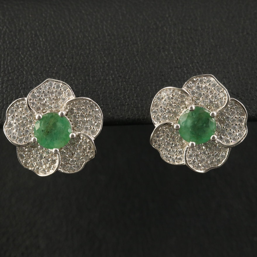 Sterling Pavé Emerald and Cubic Zirconia Flower Earrings