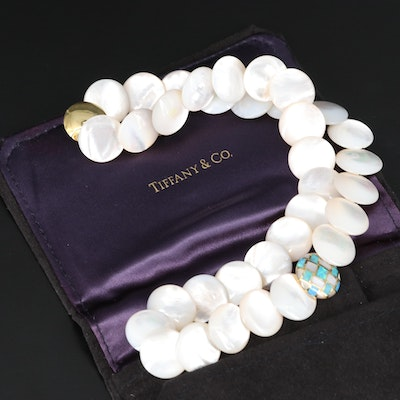 Tiffany & Co. 18K Opal and Mother of Pearl Mosaic with Mother of Pearl Necklace