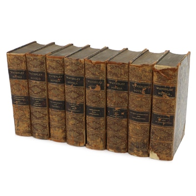 """Waverley Novels"" Eight-Volume Set by Sir Walter Scott, Mid to Late 19th Century"