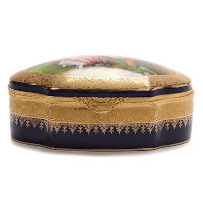 Legle Limoges Porcelain Gilt Encrusted Cobalt Vanity Box