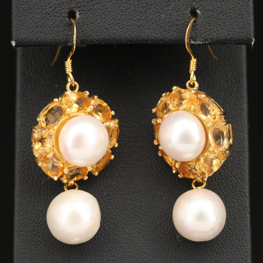 Sterling Silver Citrine and Pearl Dangle Earrings