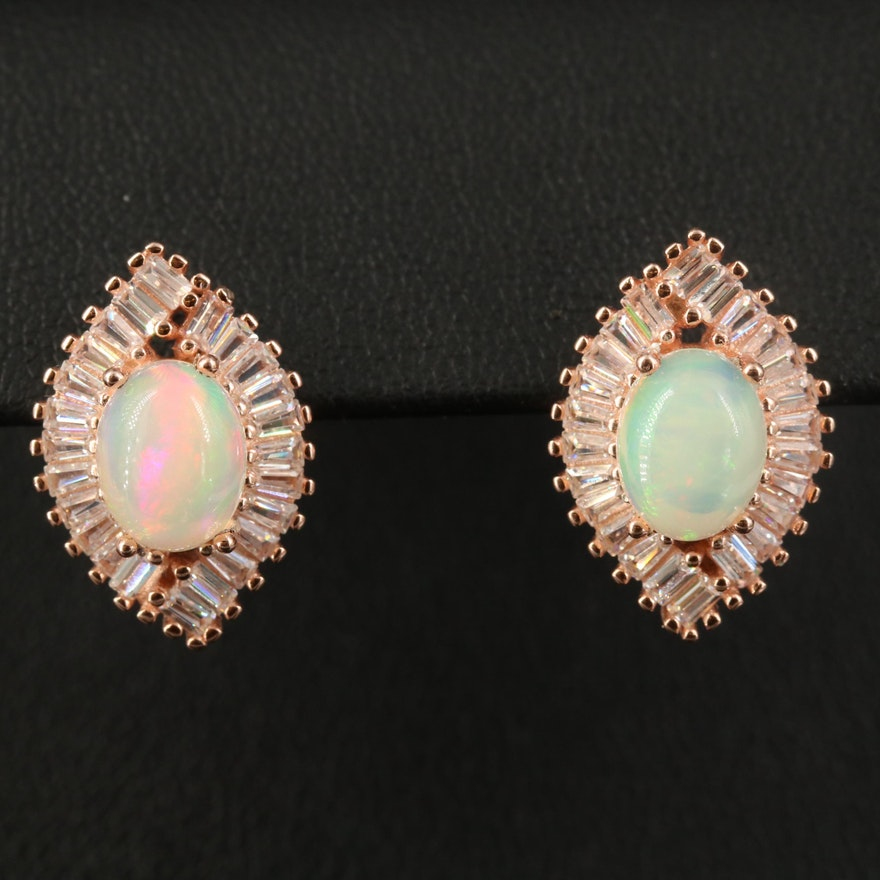 Sterling Opal and Cubic Zirconia Navette Earrings