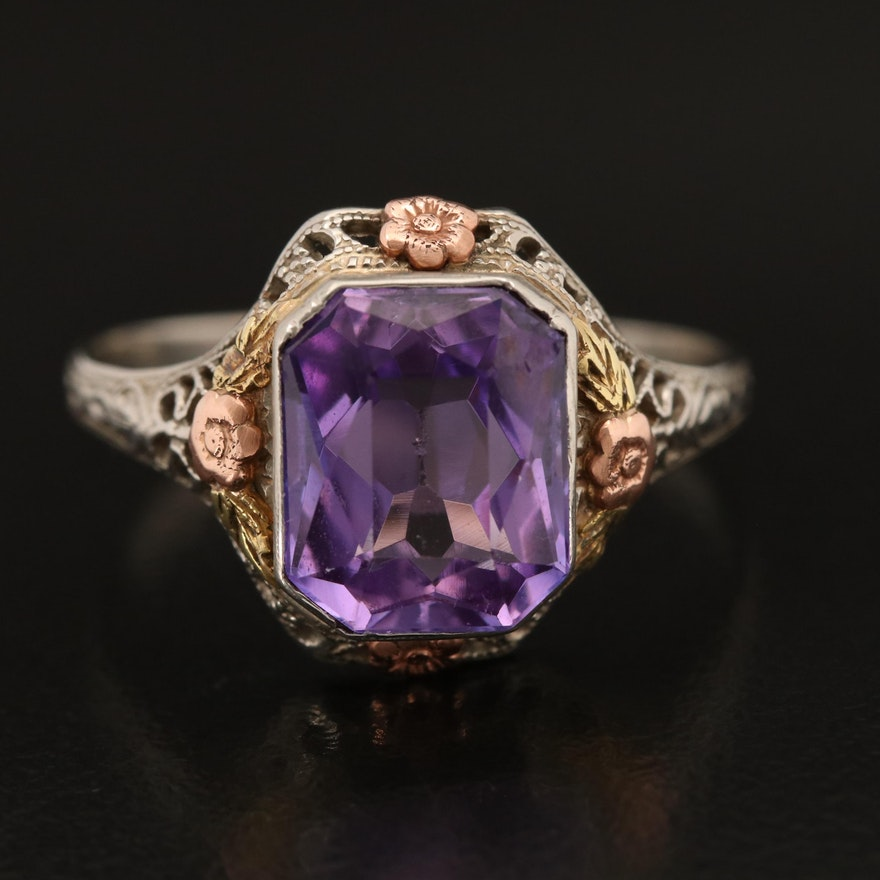 10K Tri Colored Gold Sapphire Openwork Ring with Flower Accents