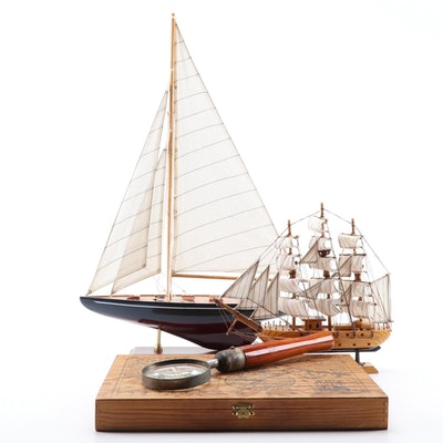Mayflower and Sailboat Models with Handled Magnifying Glass and Box