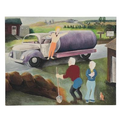 K.C. Truschel Folk Art Acrylic Painting of Roadside Scene, circa 2000