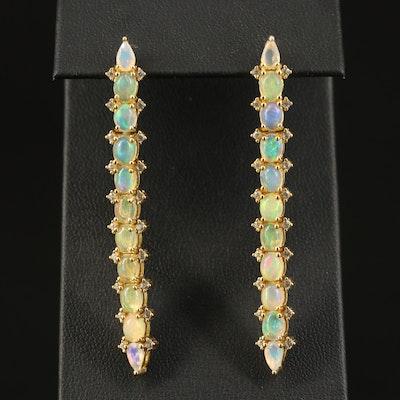 Sterling Opal Line Drop Earrings
