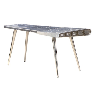 "Industrial Style Polished and Riveted Aluminum ""Airplane Wing"" Desk"