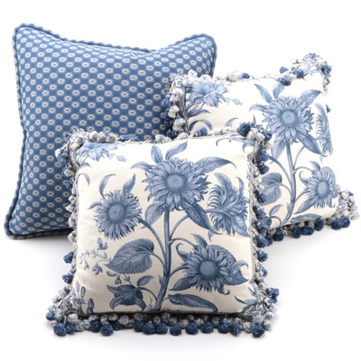Bespoke Blue and White Sunflower Feather Throw Pillows with Tassel Trim