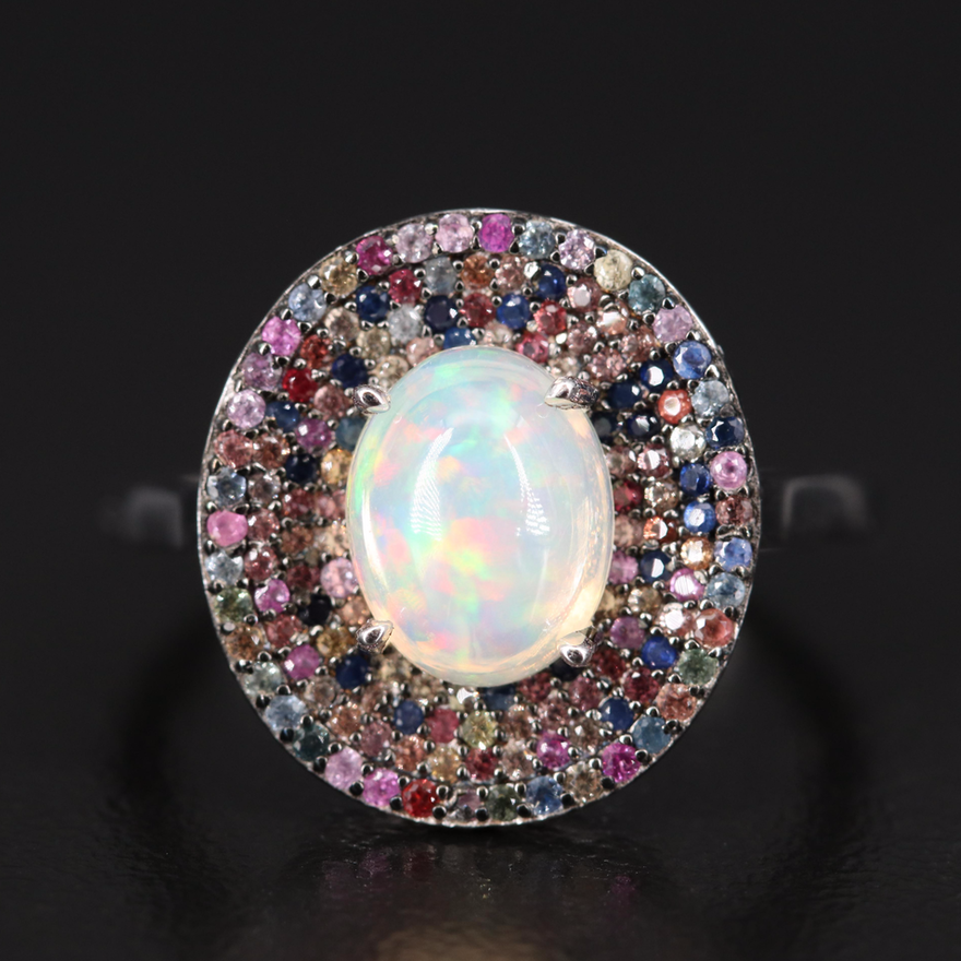 Sterling Silver Opal and Pavé Sapphire Ring