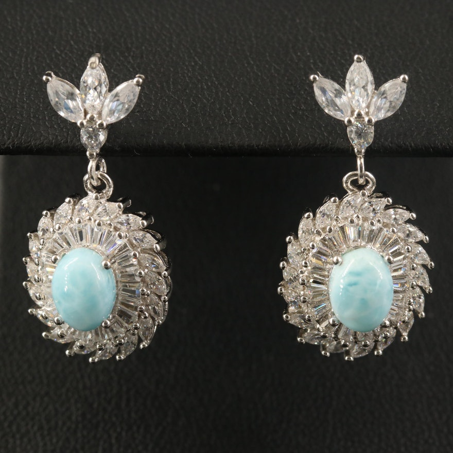Sterling Larimar and Cubic Zirconia Dangle Earrings